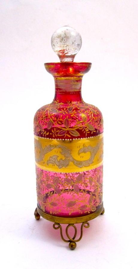 Antique Moser Cranberry Perfume Bottle