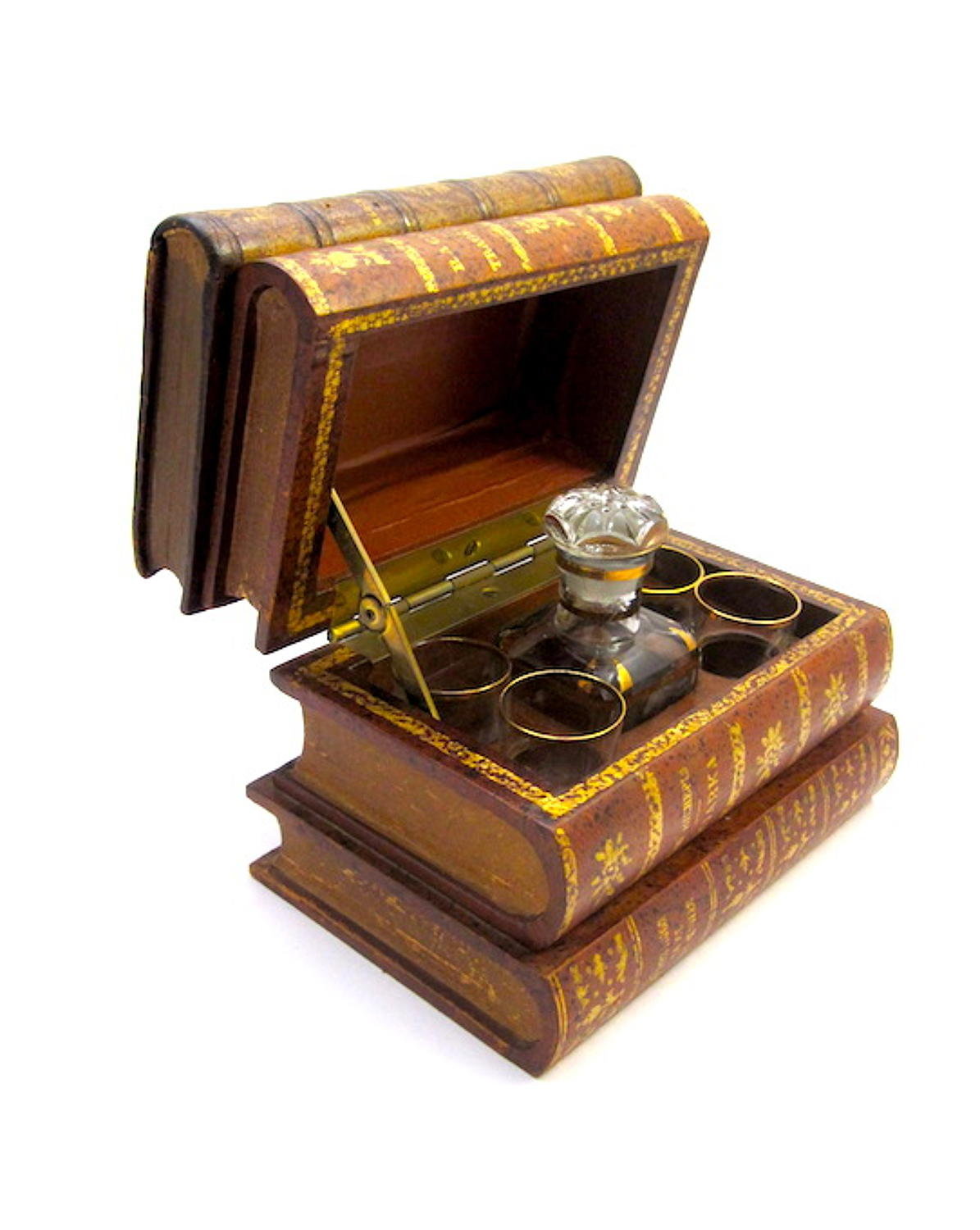 Antique French 'Book' Liquor Casket
