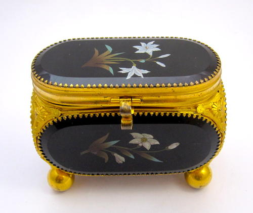 Antique French Pietra Dura Jewellery Casket