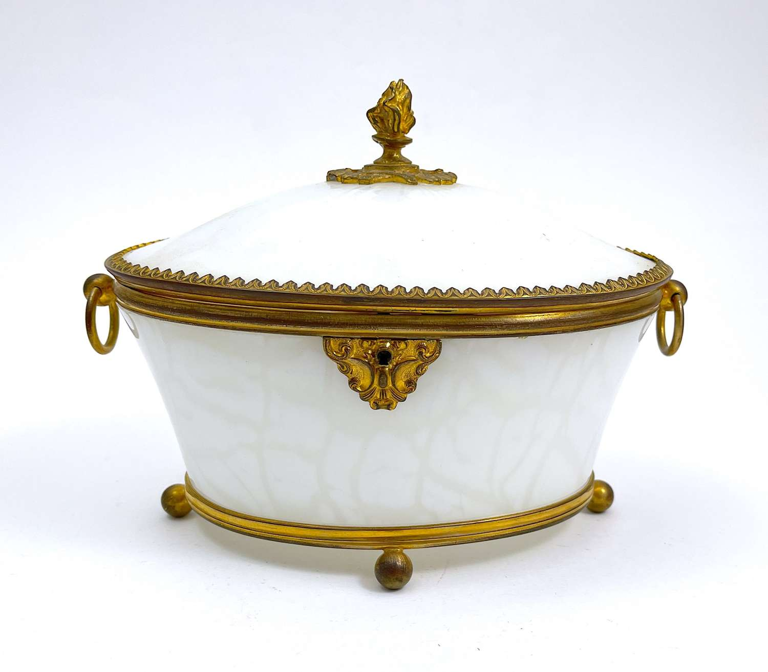 Antique French Opaline Oval Glass Casket Box