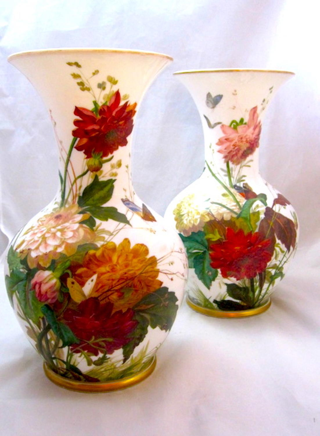 Monumental Antique Pair of Baccarat Opaline Vases
