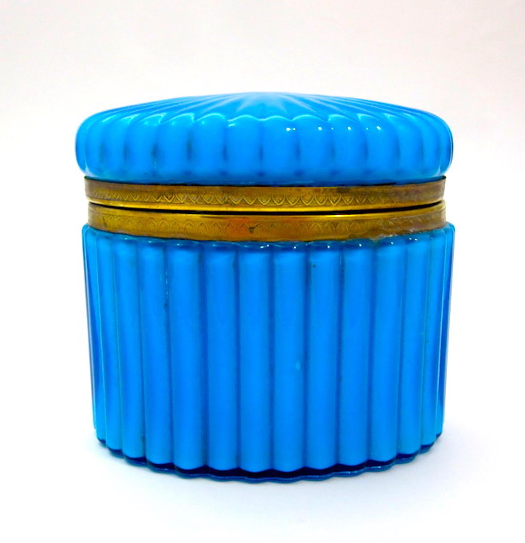 Antique French Blue Opaline Casket Box