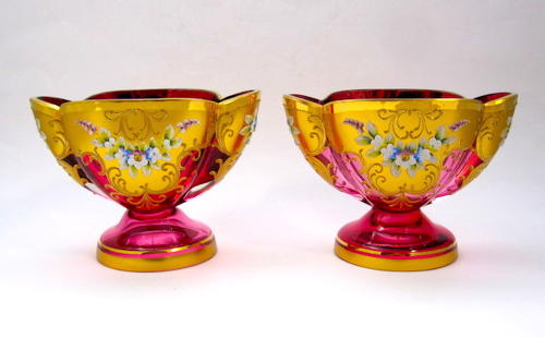 Pair Antique MOSER Vases
