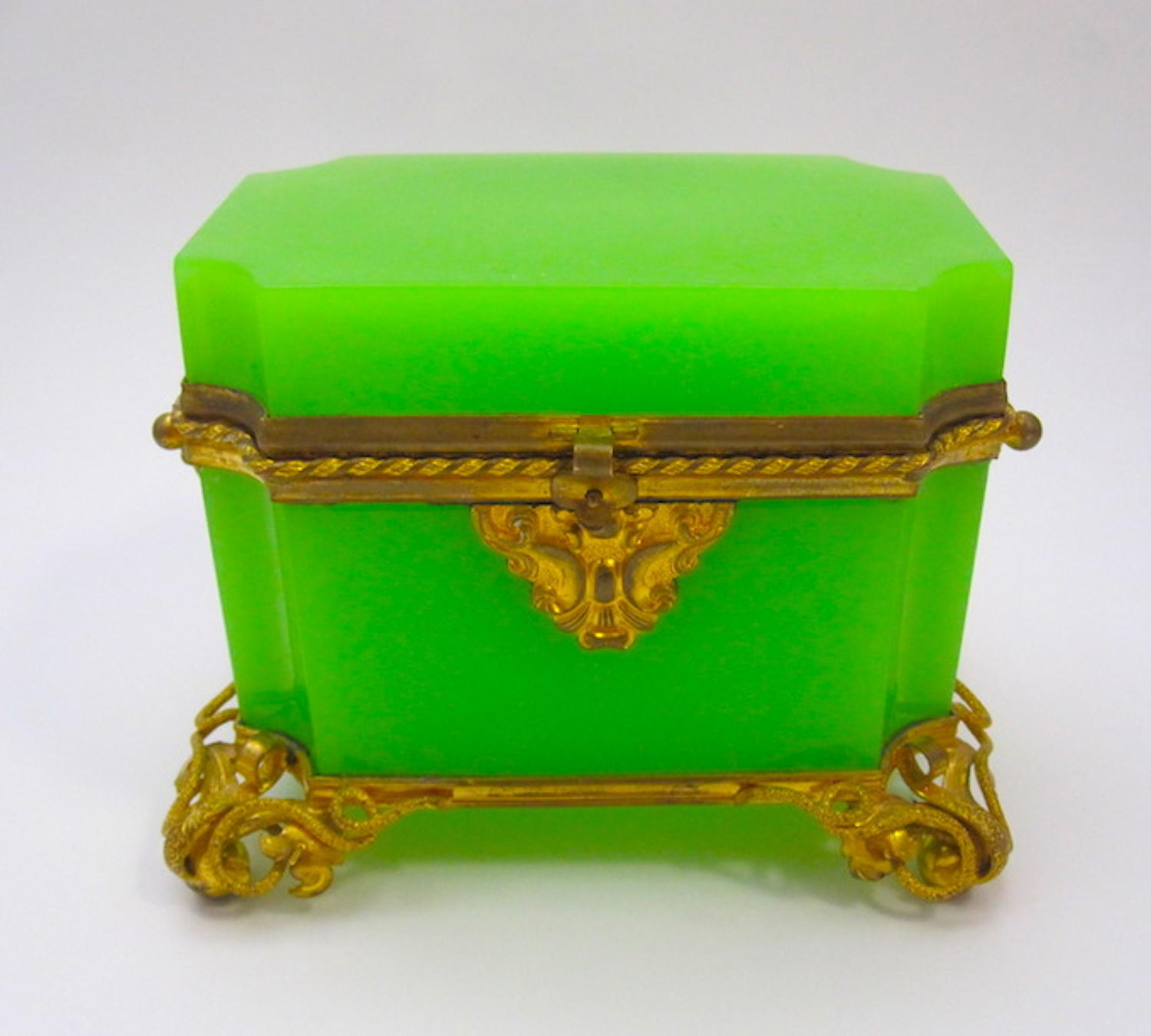 Antique French Green Opaline Casket Box