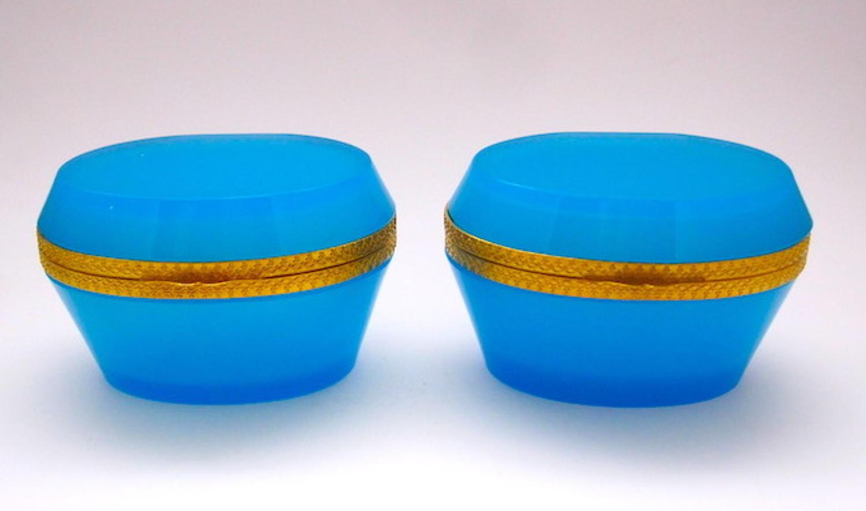 Pair Blue Opaline Caskets