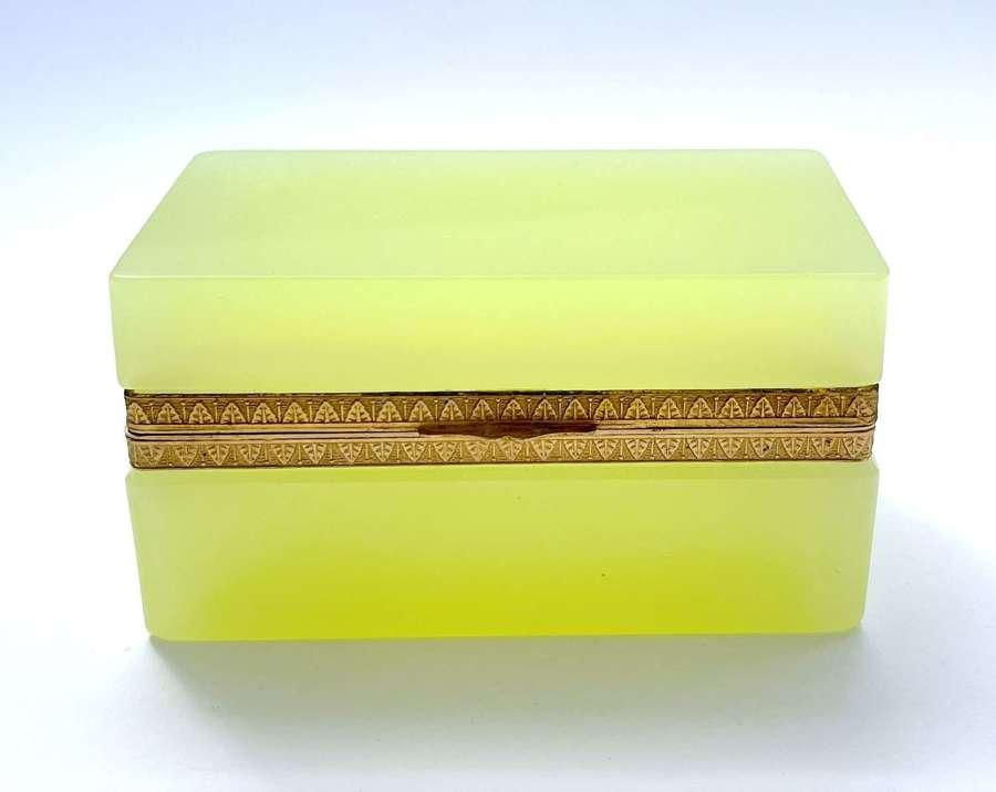 Antique Murano Yellow Opaline Glass Casket Box