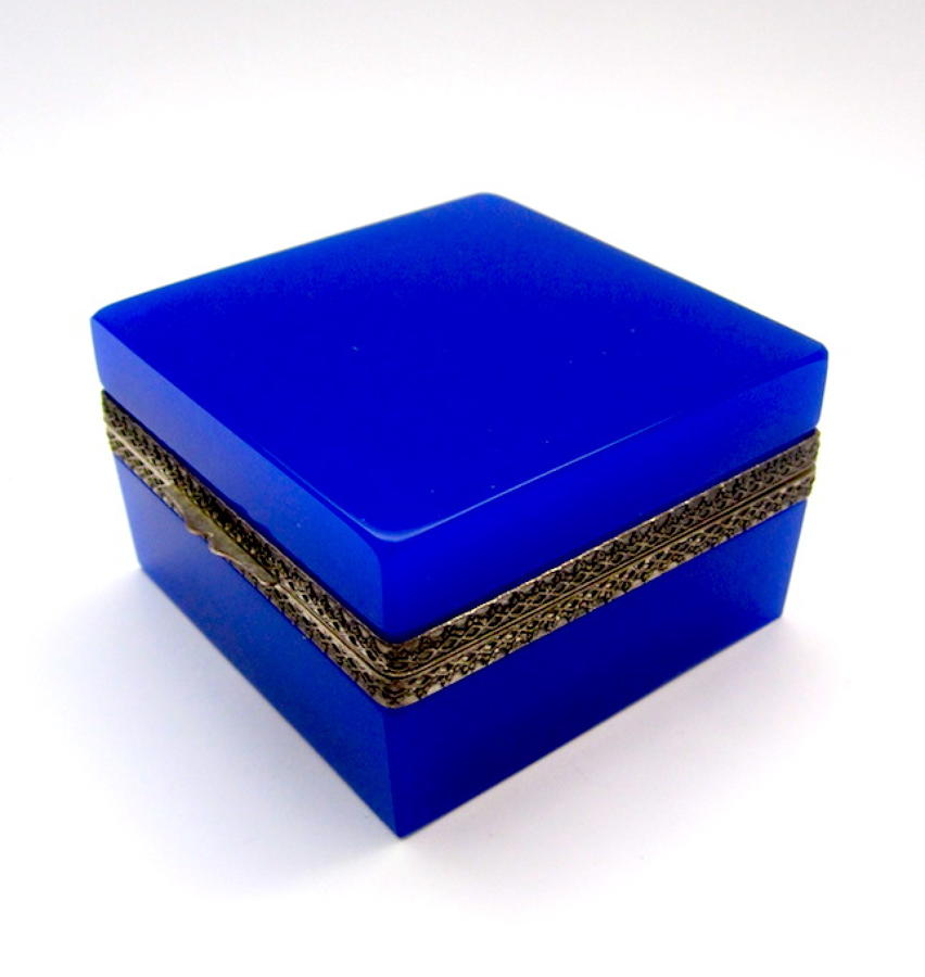Antique Murano Blue/Purple Glass Casket Box