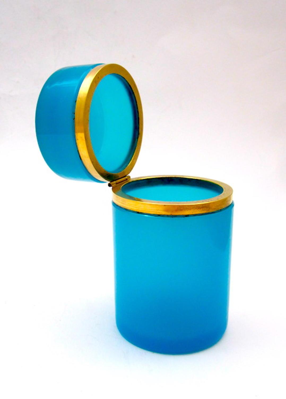 Antique French Blue Opaline Glass Casket Box