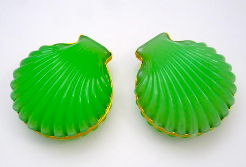 Pair French Opaline Scallop Shell Boxes