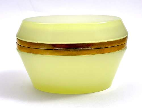 Antique Murano Yellow Opaline Glass Casket Box