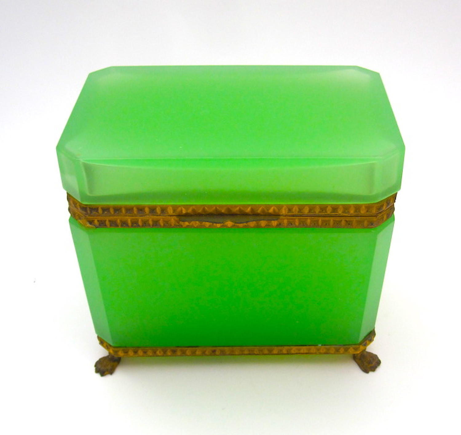Antique Green Opaline Glass Casket Box