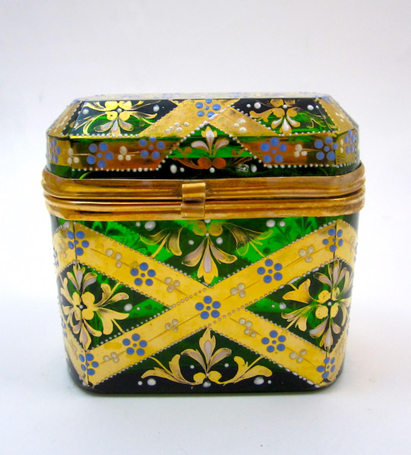 Antique Moser Enamelled Glass Casket Box