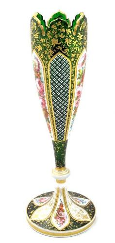 A Tall Antique Bohemian 19th Century Green Overlay Glass Vase