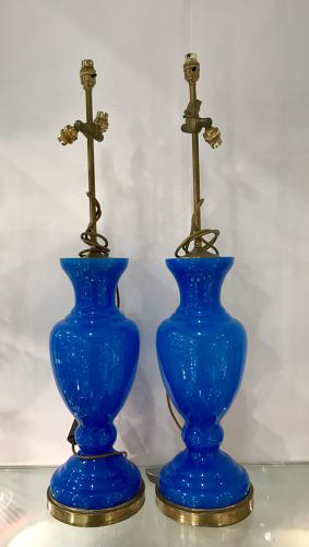 Pair of Tall Blue Opaline Lamps