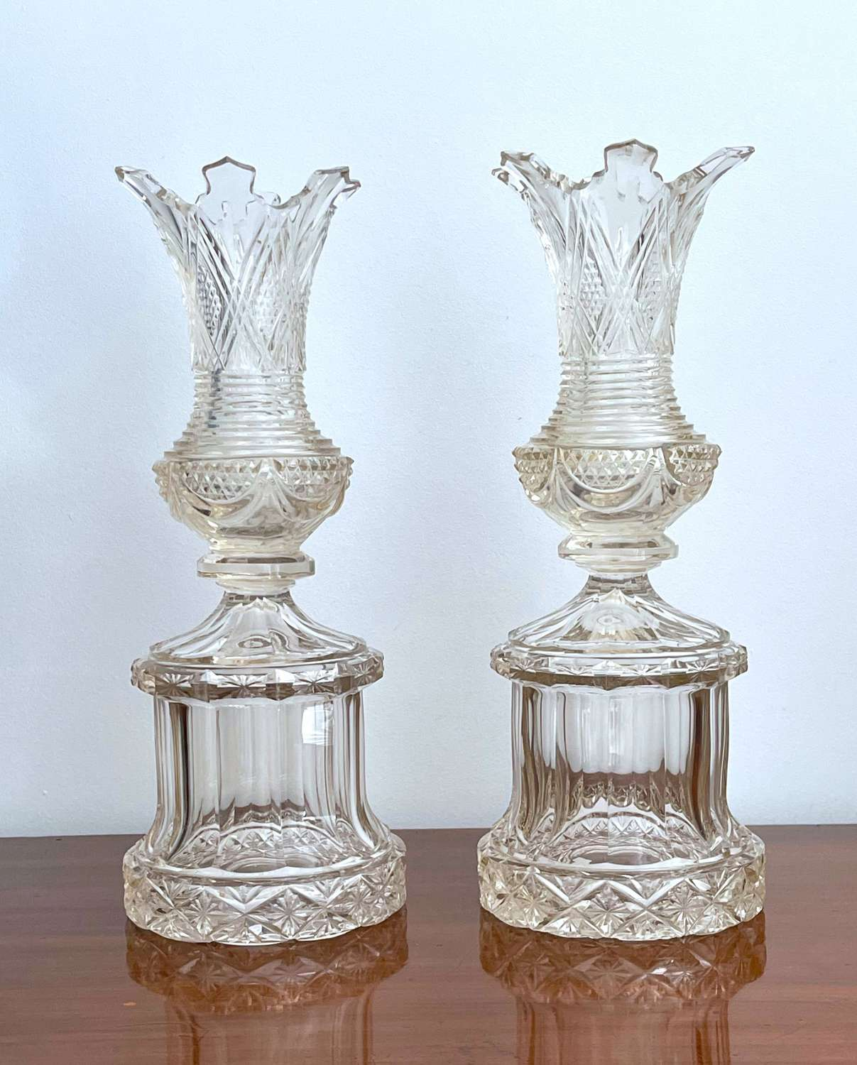 A Pair of Tall Highly Cut Antique Crystal Bohemian Vases