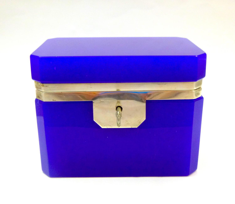 Italian Murano Lapis Blue Casket Box & Key