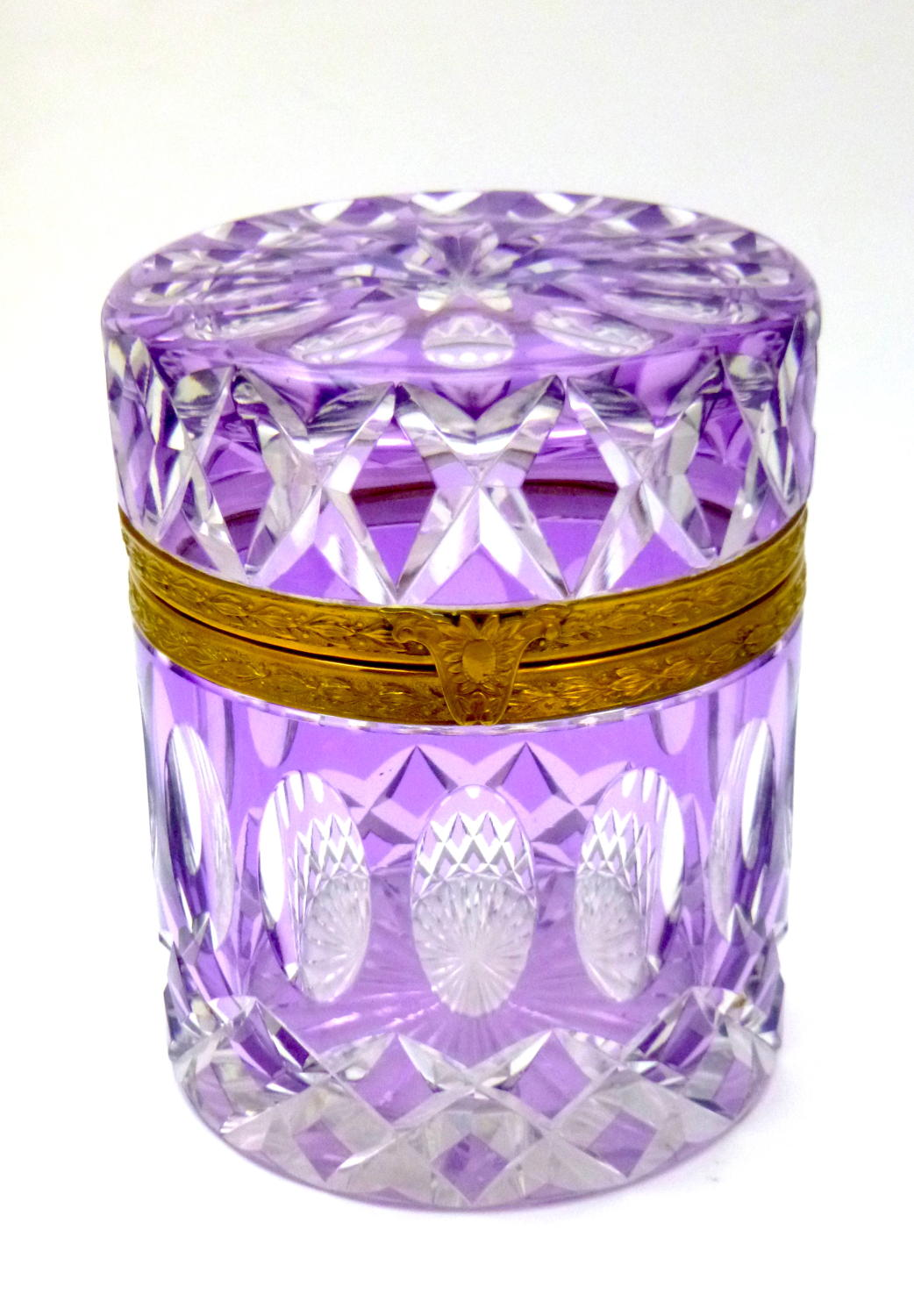 Stunning Large Antique Lilac & Clear Casket Box