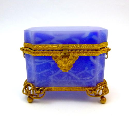RARE Antique Lavender Blue Opaline Casket Box