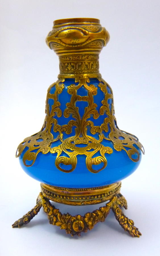Antique French Blue Opaline Scent Bottle.