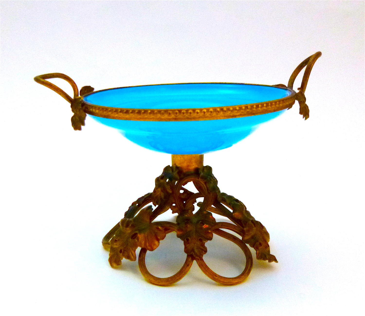 Antique French Blue Opaline Ring Holder
