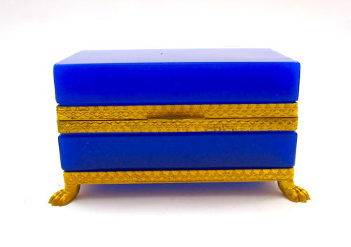 Antique Lapis Blue Opaline Murano Glass Casket Box