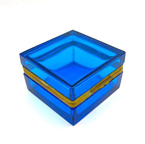 Antique Murano Aquamarine Blue Glass Casket Box