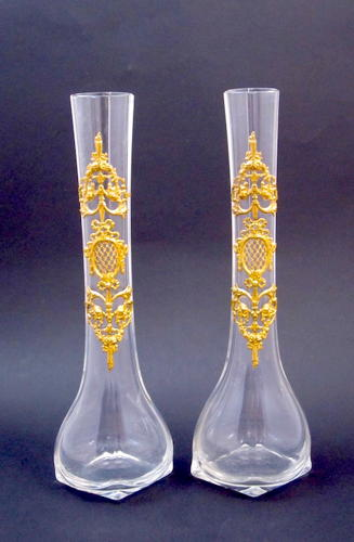Pair Tall Antique Empire Crystal and Bronze Vases