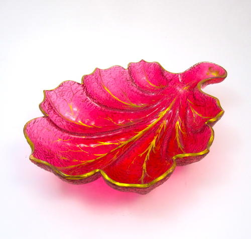 Large Antique French Cranberry Glass Leaf Dish