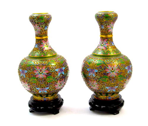 A Pair of Chinese Cloisonné Vasesand Stands