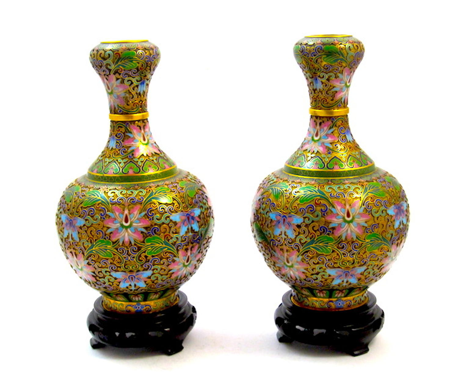 A Pair of Chinese Cloisonné​​​​​​​ Vases and Stands