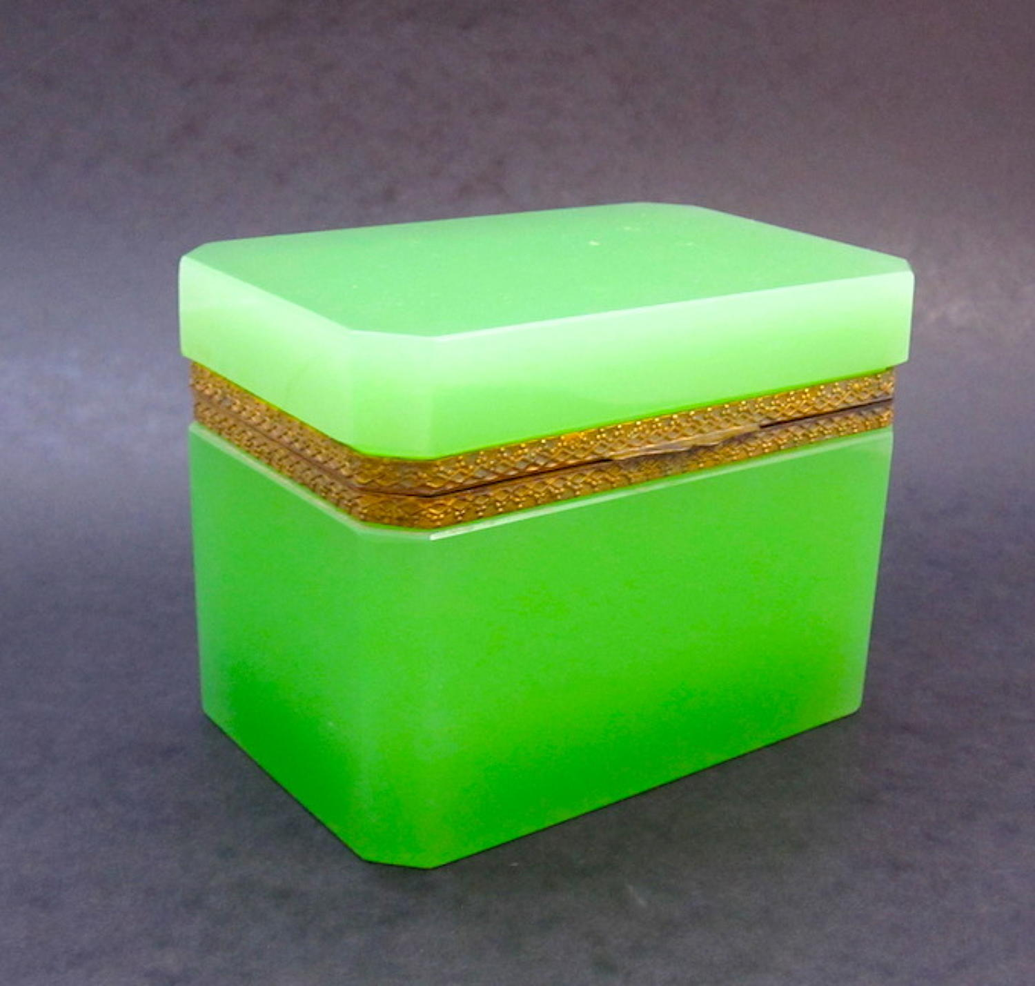 Antique Green Glass Casket Box