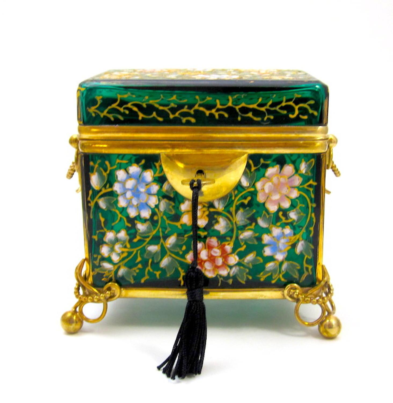 Antique MOSER Green Enamelled Casket Box & Key