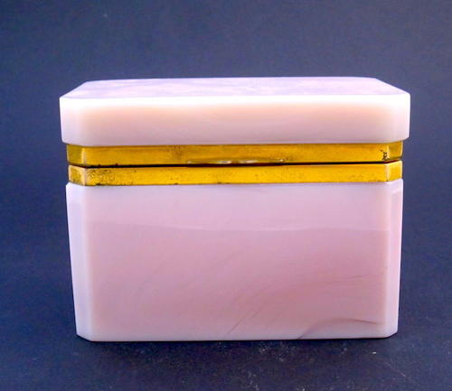 Unusual Antique Pink Lithyalin Glass Casket Box
