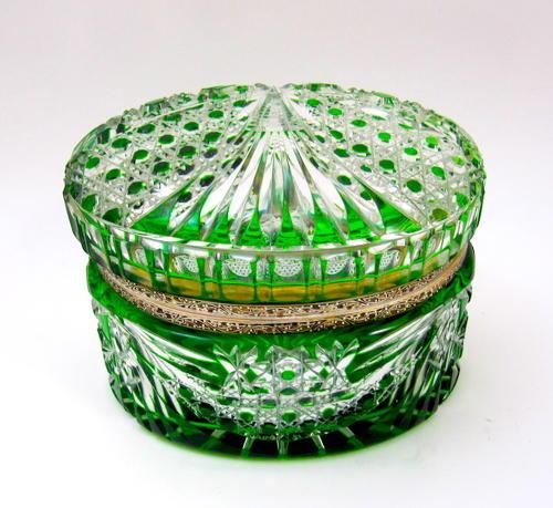 Antique Bohemian Green Cut to Clear Casket Box