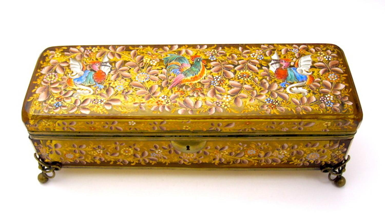 Large Antique Bohemian MOSER Casket Box