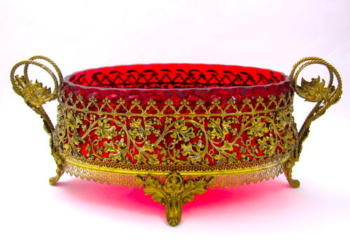 Large French Dore Bronze & Cranberry Glass Jardiniere