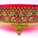 Large French Dore Bronze & Cranberry Glass Jardiniere - picture 5
