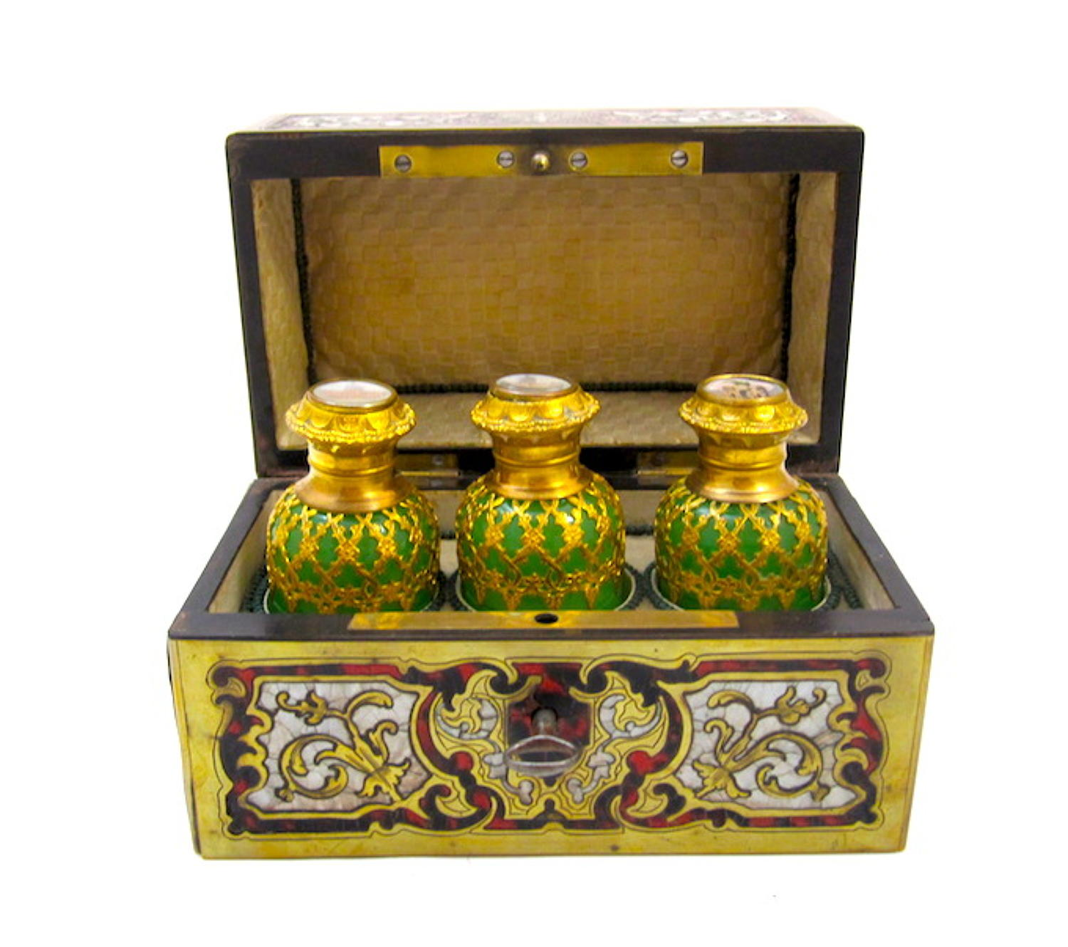 Rare Boulle Work Perfume Casket Box and Key
