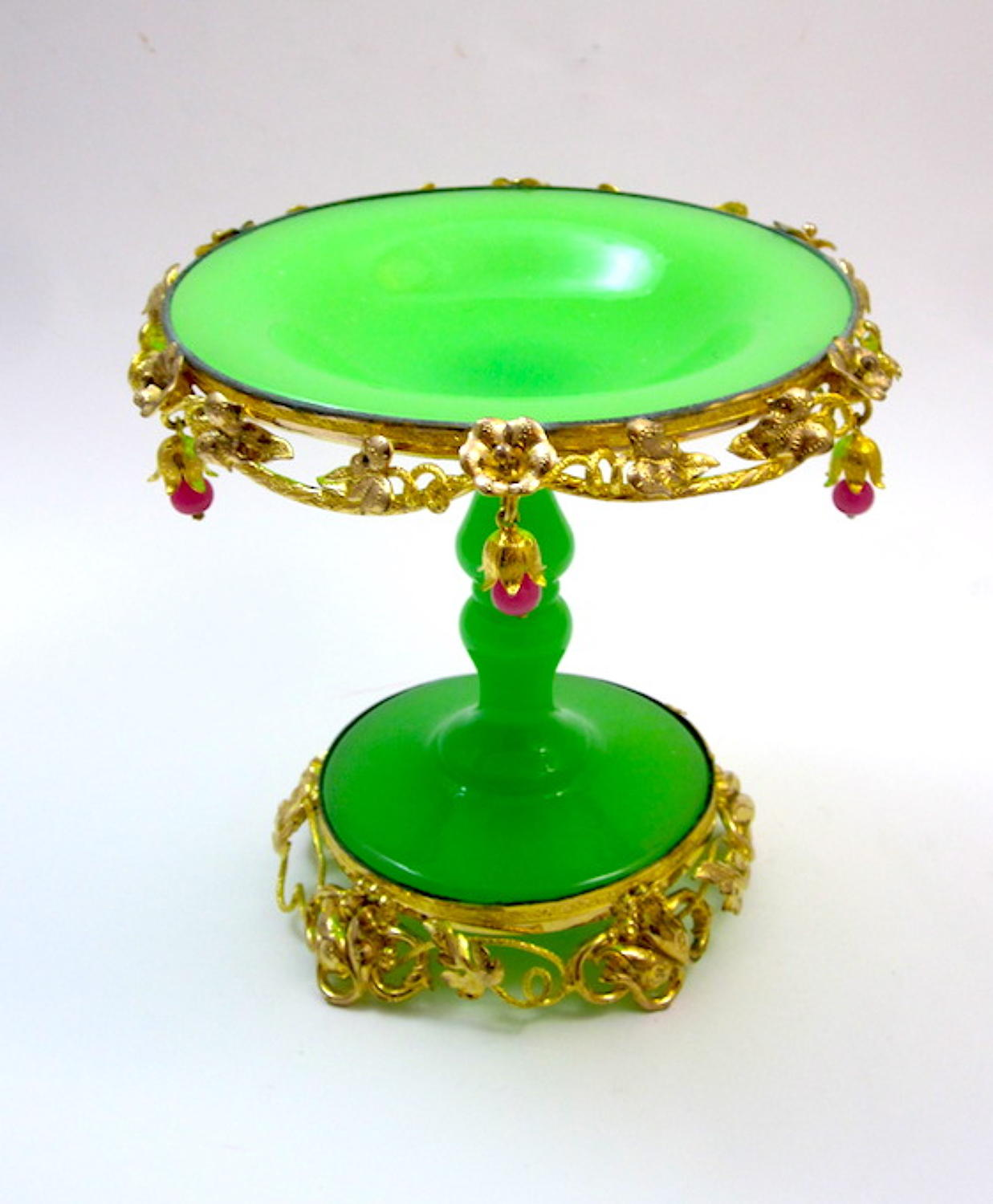 Antique French Palais Royal Green Opaline Glass Tazza Bowl