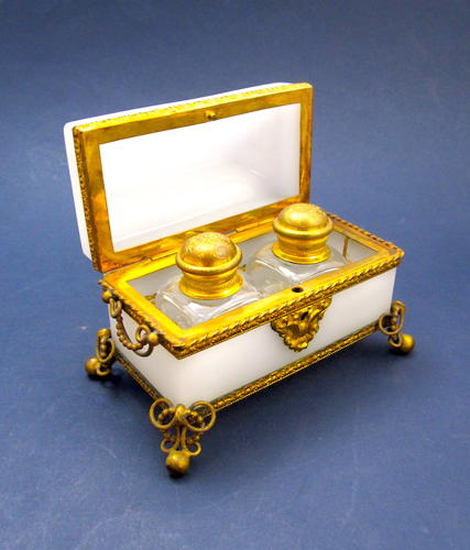 Antique French Opaline Perfume Glass Casket