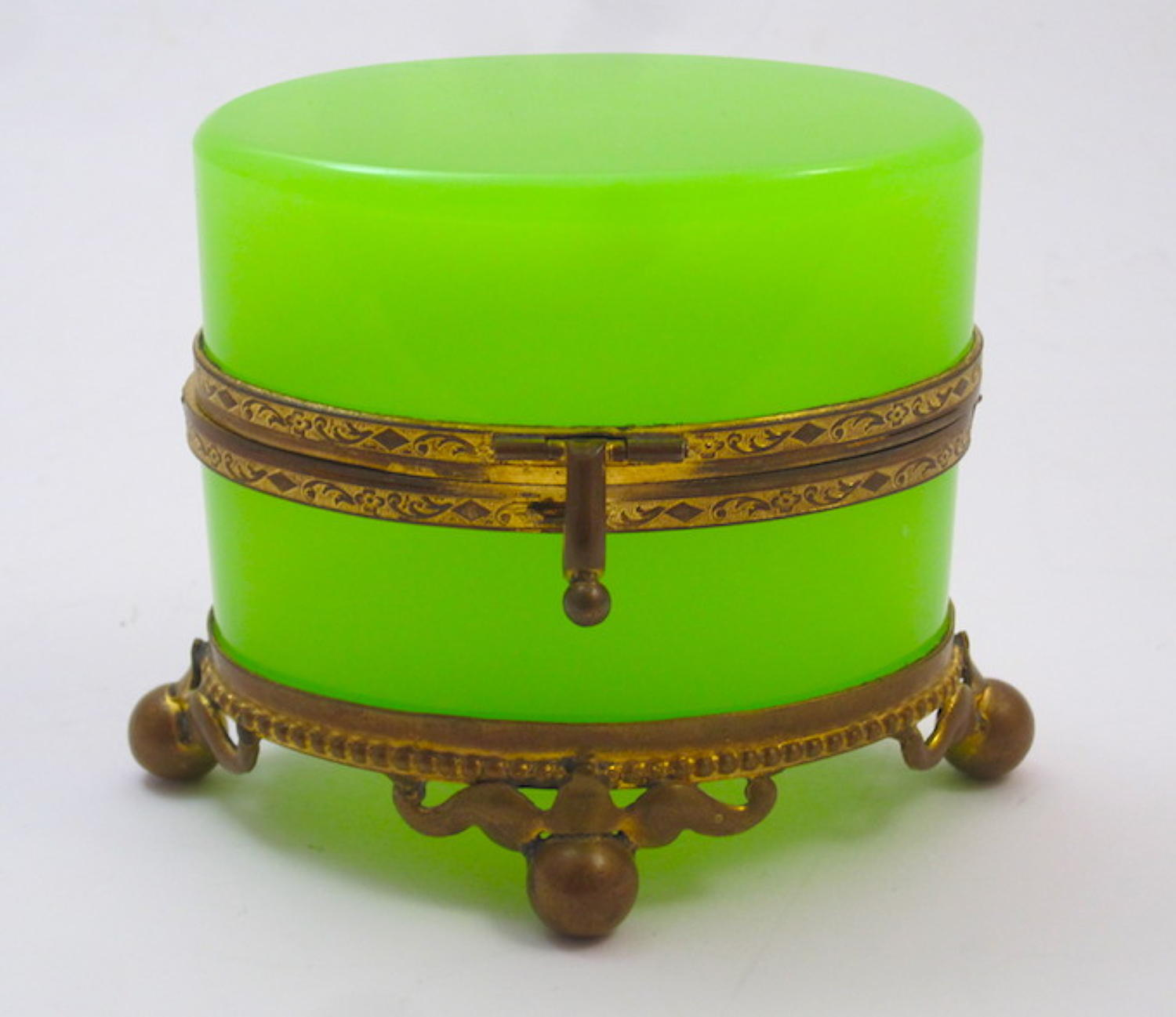 Antique French Green Opaline Glass Oval Casket Box