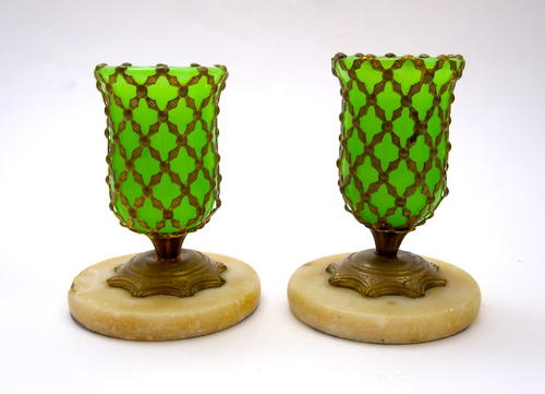 Pair of French Miniature Green Opaline Glass Vases