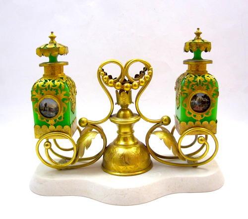 Large Antique Palais Royal Opaline Perfume Set