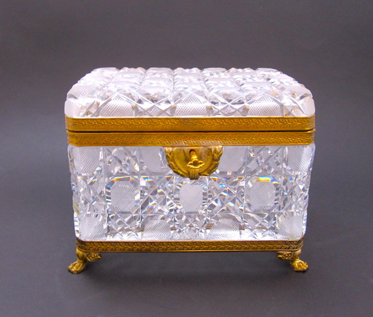 Large BACCARAT Cut Crystal Casket & Key