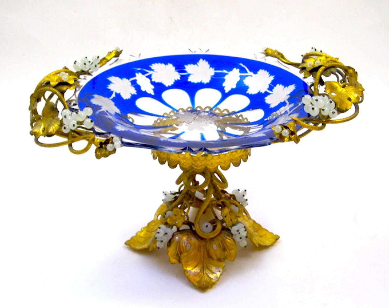 Antique Blue Overlay Glass Tazza
