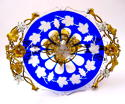 Antique Blue Overlay Glass Tazza - picture 3