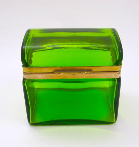 Antique Murano Green Crystal Glass Domed Box