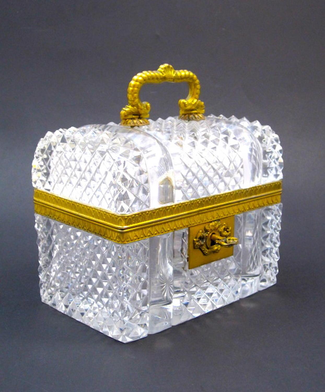 Large Baccarat Cut Crystal 'Chest' Casket Box
