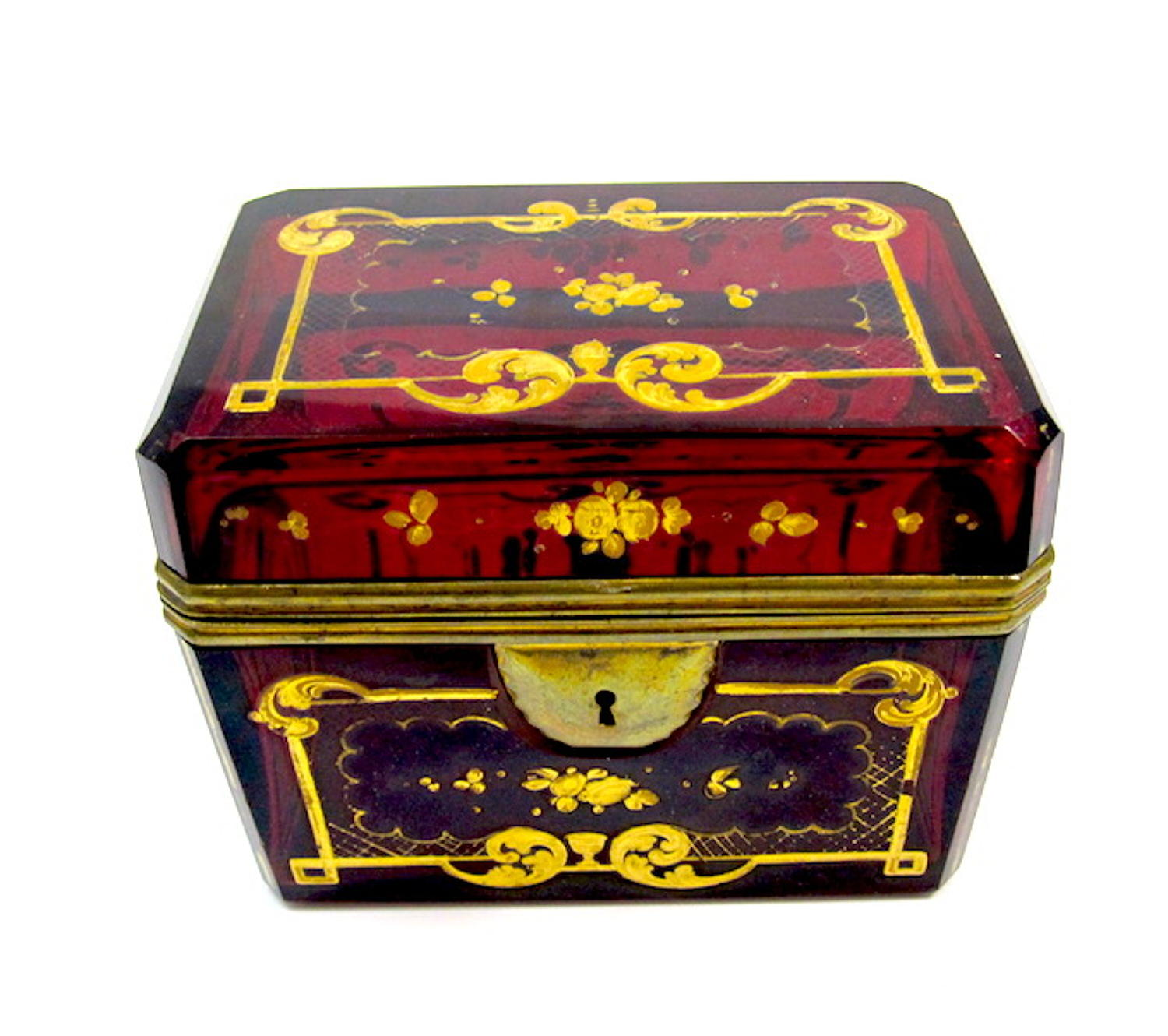 Antique Bohemian Ruby Red Enamelled Casket Box