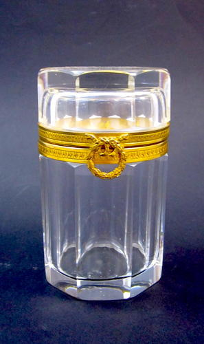 An Antique Tall Cylindrical Bevelled Cut Glass Casket with Bow Clasp.